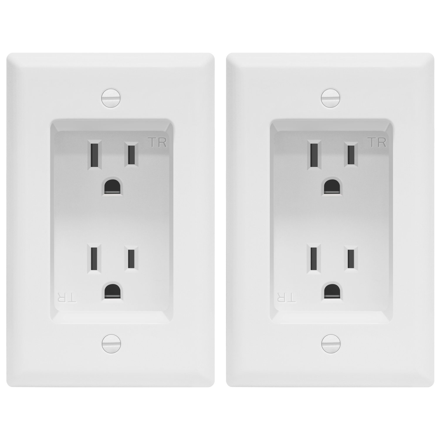 TOPGREENER Recessed Duplex Receptacle Power Outlet (2 Pack), 1-Gang Tamper-Resistant Receptacle, Residential Grade 125VAC/ 15A, White TG15RD31-2PCS