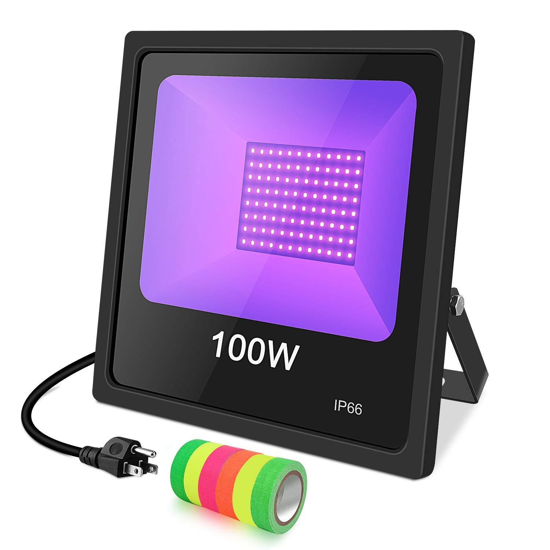 UV LED Black Light, 100W UV LED Floodlight Outdoor IP66 Waterproof Stage Light for Blacklight Party, 6 Fluorescent Neon Glow Gaffer Tape, UV Black Light Flood Light Bulb for Glow in The Dark, DJ Disco