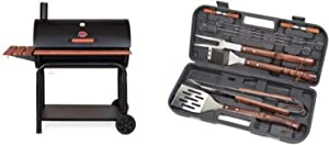Char-Griller 2137 Outlaw 1038 Square Inch Charcoal Grill / Smoker with Cuisinart Grilling Set