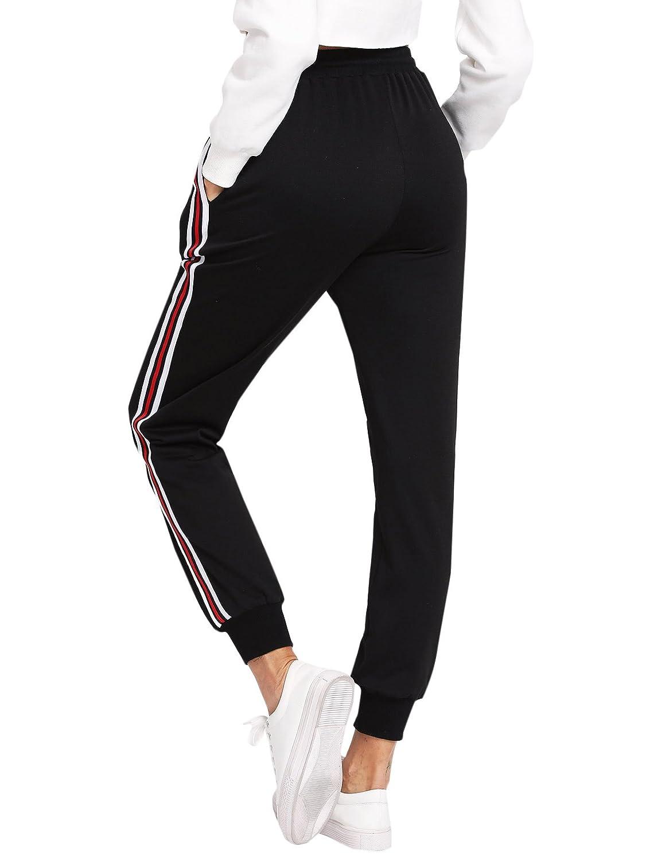 b078f51612d284 DIDK Damen Hosen Sporthose Casual Streifen Sweathose Elastischer Bund  Jogginghose mit Taschen: Amazon.de: Bekleidung