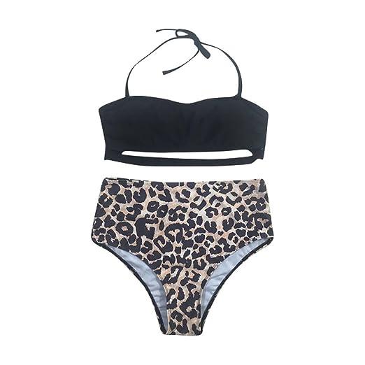 329e6ab4750f0 Amazon.com  Featurestop Women Leopard Print Bikini Sexy Swimwear Bandage  Push-Up Padded Bathing Swimsuit Beachwear Bodysuits  Clothing