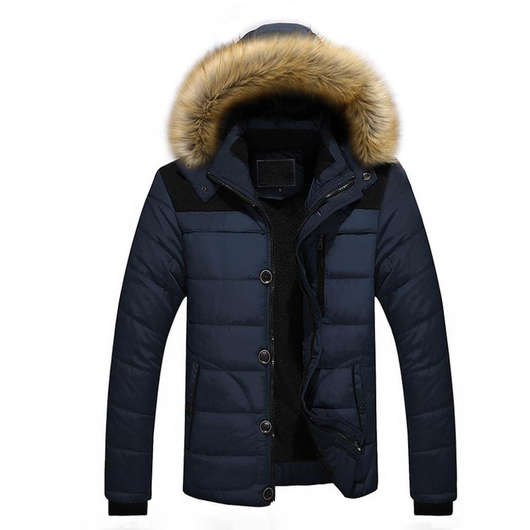 Fur Hooded Coat,FimKaul Men Outdoor Warm Winter Thick Jacket Plus Jacket (XXXL, Blue)