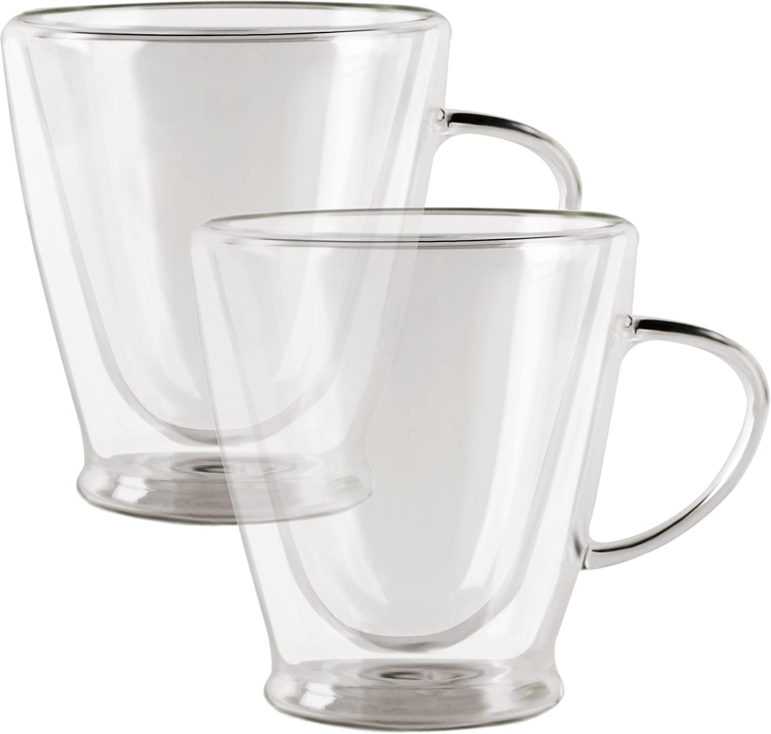 Circleware Thermax Double Wall Insulated Heat Resistant Glass Coffee Mugs with Handle, Beverage Drinking Home Kitchen Entertaining Tea Cappuccino Espresso Shots Glassware Cup, 8 oz 2-pc Set Tall