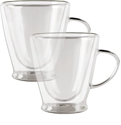 ac490525075 Circleware Thermax Double Wall Insulated Heat Resistant Glass Coffee Mugs  with Handle, Beverage Drinking Home
