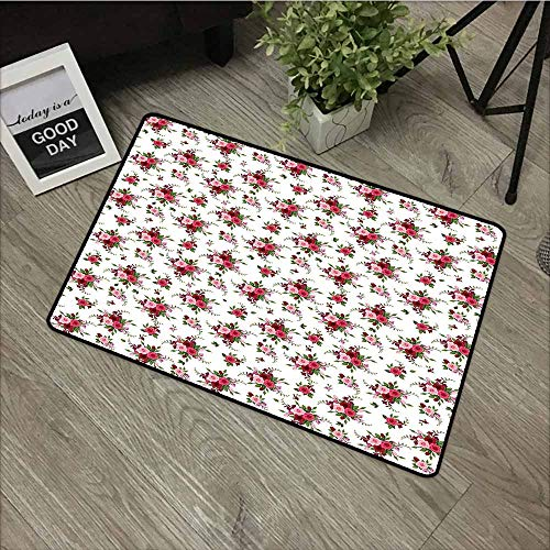 (Welcome Doormat,Flowers Bridal Bouquets Pattern with Roses and Freesia Romantic Victorian Composition,All Season Universal,24
