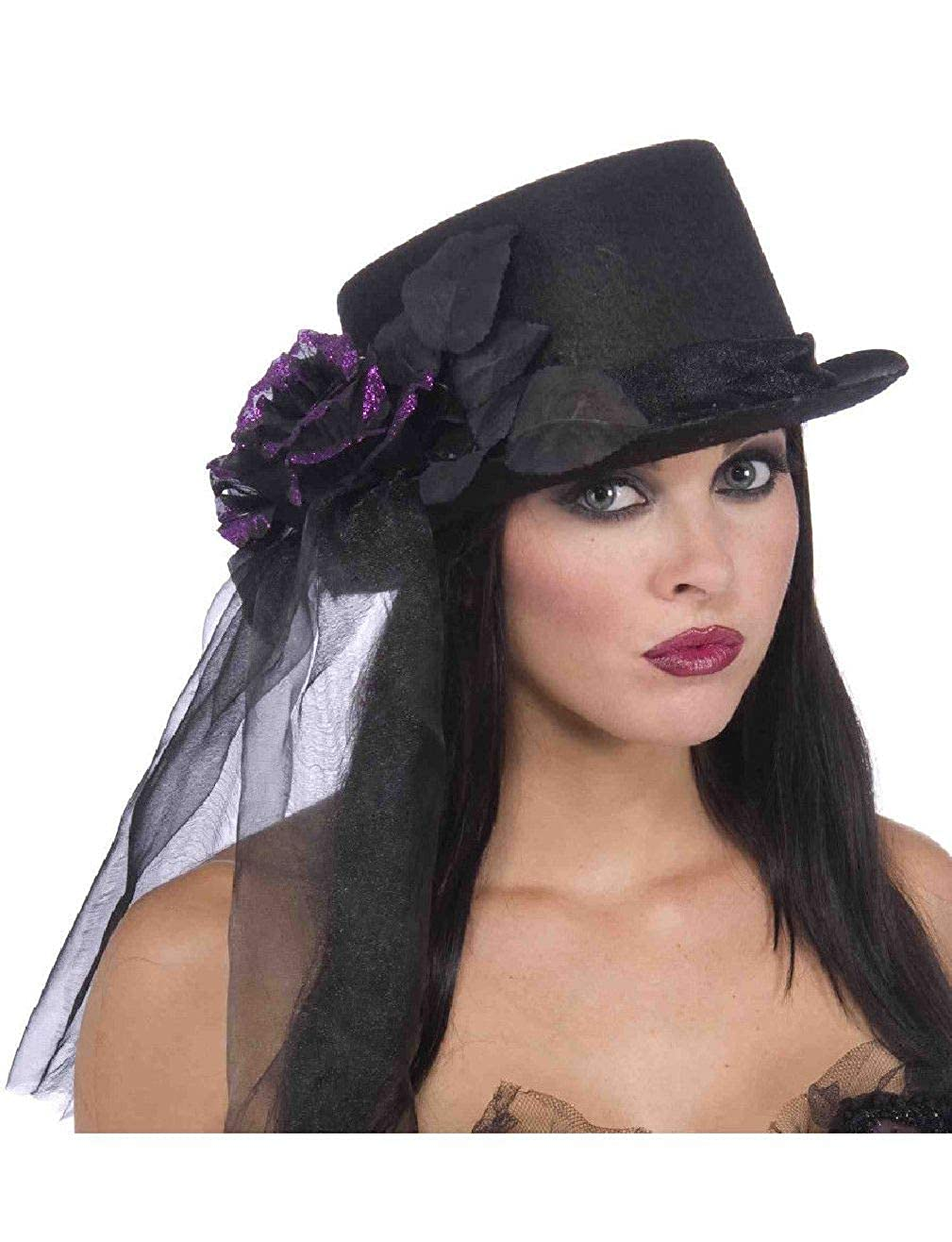 Amazon.com  Deluxe Black Gothic Bride Funeral Costume Top Hat with Purple  Rose and Veil  Clothing ffb4148e313