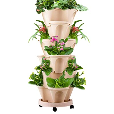 WAQIA HOUSE Set of 7 Vertical Gardening Planter Stackable Flower Pot Tower, Herb and Strawberry Planters Stacking Garden Pots with Saucer: Home & Kitchen
