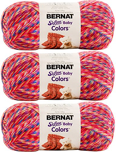 Bernat Crochet Patterns - Bernat Softee Baby Colors Yarn, 4.2 Ounce, 310 Yards 3-Pack (Pink Rainbow) Bundle with Bonus Patterns