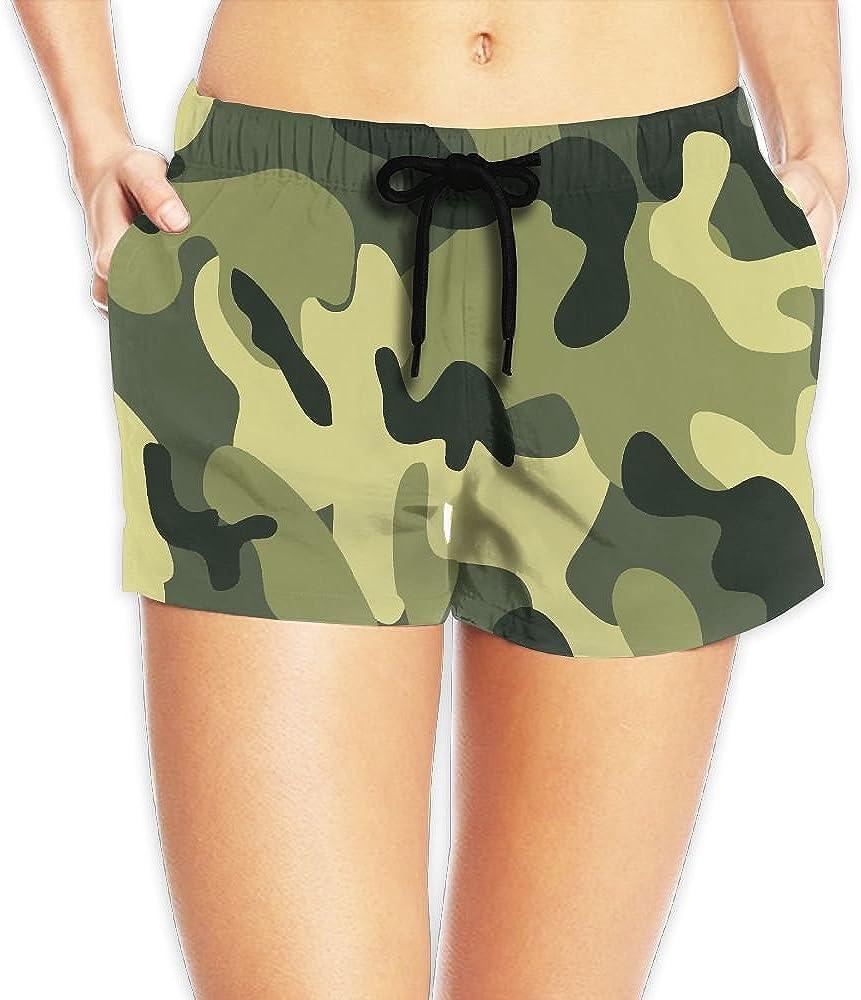 Women Beach Pants Green Camouflage Home Summer Surfing Board Shorts Swim Trunks