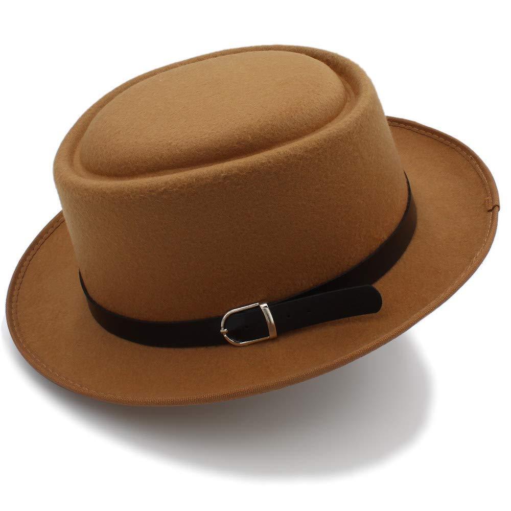 Zhahender Skiny Touch Mens Fedora Wide Brim Classic Winter Black Male Pork Pie Hat Felt Hat an Ideal hat