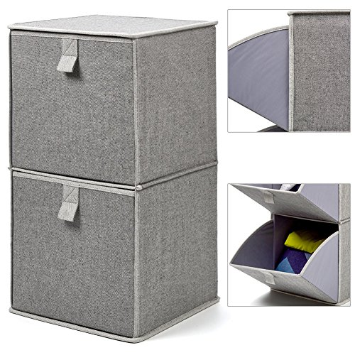 EZOWare 2-Tier Storage Organizer, Collapsible Cube Basket Bins Boxes with Pull Down Opening for Home, Nursery Home, and Office - Gray (Plastic Dividers Basket Laundry With)