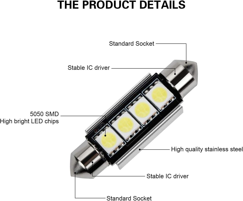 6 pezzi 6 Led T10 Lampade Gel SMD 12 chips COB No Errore Canbus BIANCO Xenon 5W