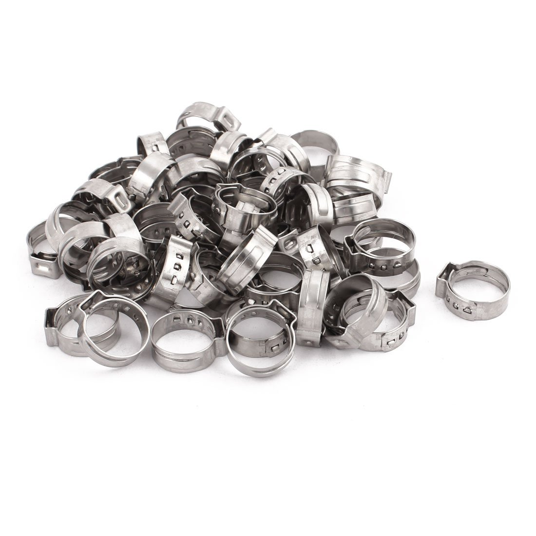 uxcell 14.3mm-16.8mm 304 Stainless Steel Adjustable Tube Hose Clamps Silver Tone 50pcs