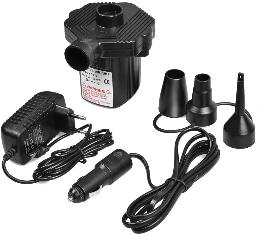 Car 12v Home 240v Plug Electric Air Pump Inflator//Deflator For Airbeds Paddling Pools /&Toy Universal Valves Black