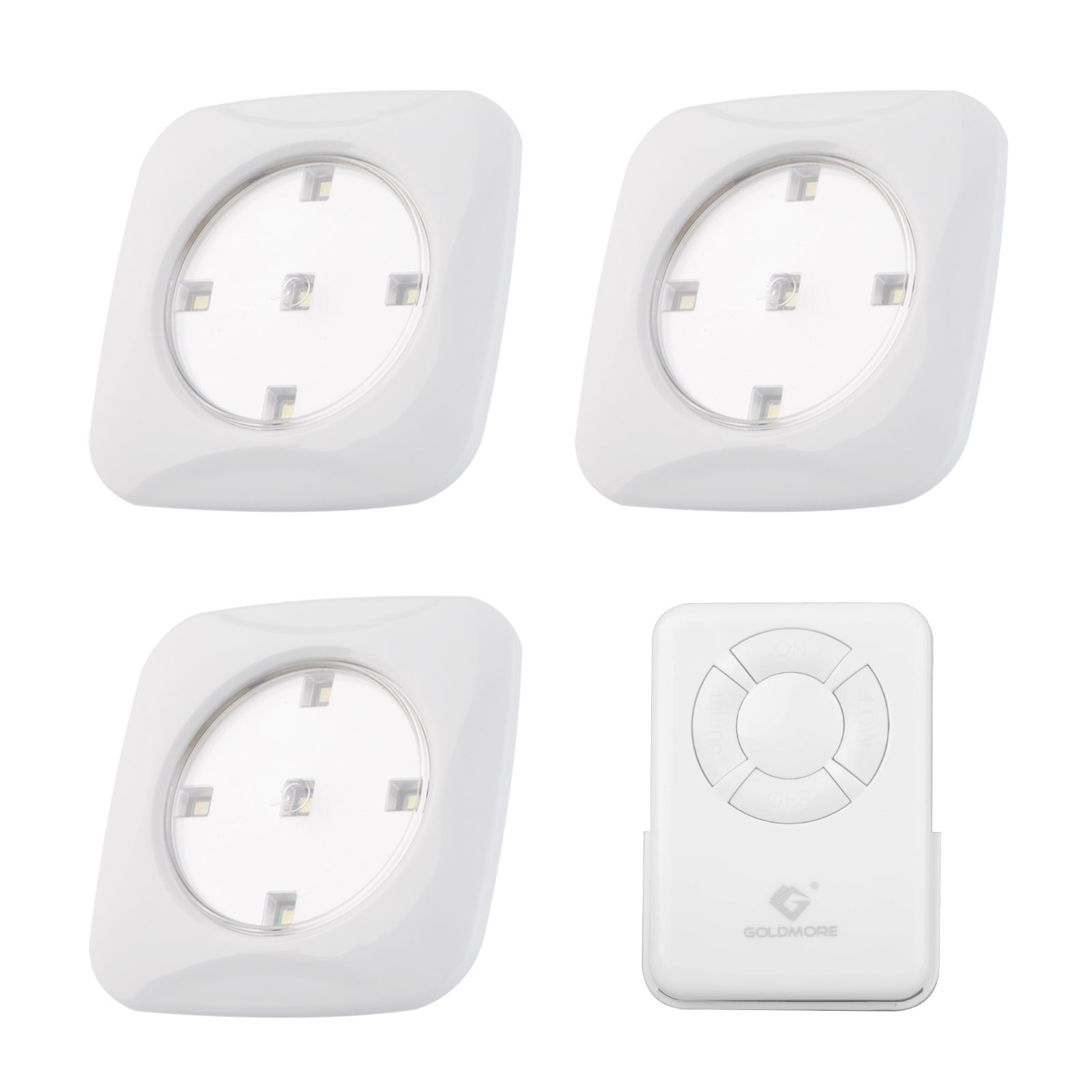 3 Pack Tap Light,5 LED Battery-powered Wireless NightLight Remote Control,Goldmore Touch Lights Stick-on Push Light for Closets,Cabinets,Kitchen,Utility Rooms,Pantries,Hallway,Garage-White by goldmore (Image #1)