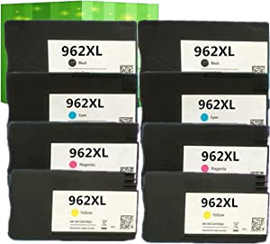 J2INK Remanufactured Ink Cartridge Replacement for HP 962XL 962 8 Pack Ink Cartridge 3JA03AN 3JA00AN 3JA01AN 3JA02AN OfficeJet Pro 9025 9020 9018 9015 9010
