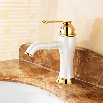 wymbs accesorios para muebles creativo decoración baño cobre altura orificio individual Bacino fría grifos de rotación: Amazon.es: Hogar