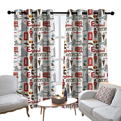 Ties Stonehenge - Lewis Coleridge Living Room Curtains London,Fun Colorful Sketch Royal Guard Map Rain Famous Country Landmarks and Stonehenge, Multicolor,Adjustable Tie Up Shade Rod Pocket Curtain 54