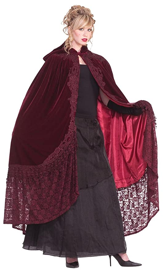 Victorian Inspired Womens Clothing Burgundy Velvet and Lace Victorian Costume Cape $39.19 AT vintagedancer.com
