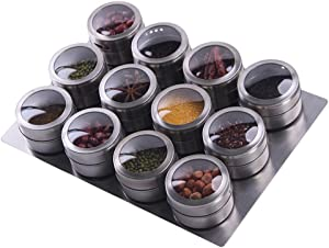 Sanvcomy 12 Magnetic Spice Jar Containers Spice Tins - Wall Mounted Stainless Steel Base - Easy to Install