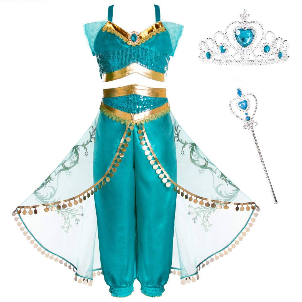 Princess Cosplay Costumes for Aladdin's Lamp Jasmine Princess Kid Girls Sequined Halloween Birthday Dresses 4/6Pcs (Age:4-5 Years, Green) by sweetnice Girls Dress