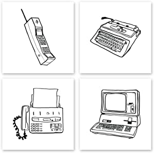 Technology Wall Art 4 pc Set   UNFRAMED Office or Home Decor   Illustrative Vintage Phone Computer Printer Fax Machine Type Writer (12x12)