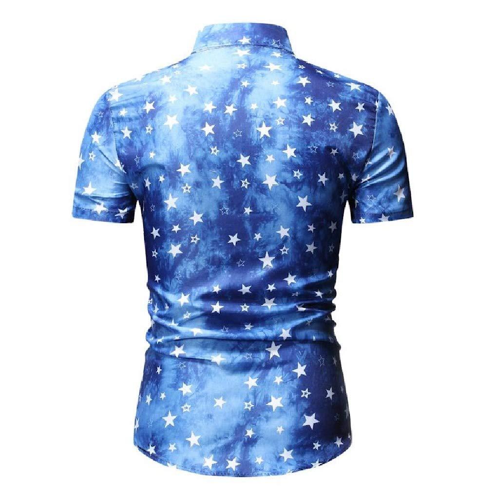 Vska Mens Summer Silm Fit Casual Lucky Star Short-Sleeve Shirt