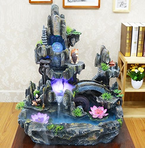 GL&G Rockery Water Indoor Fountain Accessories Water features Lucky Resin Crafts Home office Ornaments Tabletop Scenes Floor-Standing Fountains Humidifier Parts High-end Business gift,433350cm