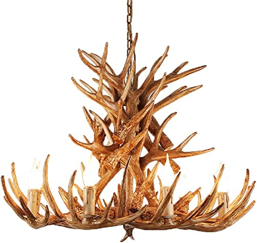 Lymxxl Antler Chandelier Resin American Country Retro Deer Horn Lighting E12 Warm White Decoration Lamps for Dining Rooms Clothing Store Living Room Bar Cafe – UL 9 Light Antlers 9 Antlers