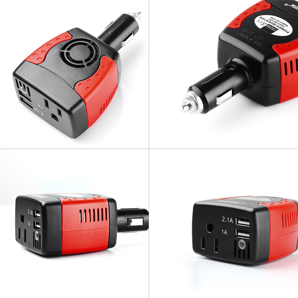 BESTEK 150W Power Inverter with 3.1A Dual USB Charging Ports by BESTEK