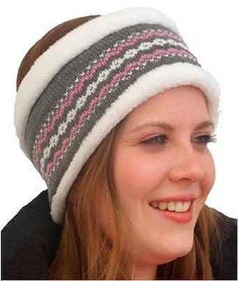 Unisex Luxury Fairisle Thermal Headband. Grey: Amazon.co.uk: Clothing