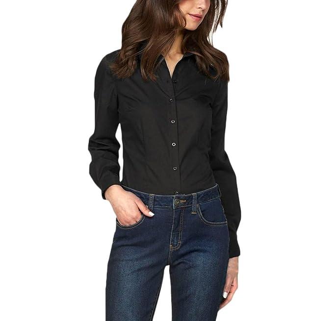 Mujer Camisas Manga Larga Elegantes Oficina Negocios Ejecutiva Blusa Slim Fit De Solapa Color Sólido Botones