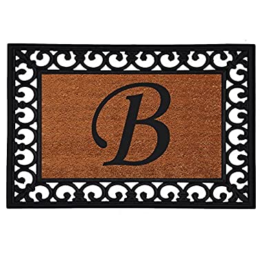 Home & More 180041925B Inserted Doormat, 19  X 25  x 0.60 , Monogrammed Letter B, Natural/Black