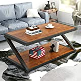 #10: Coffee Table, LITTLE TREE 48'' Large Z-shaped Table with Lower Storage Open Shelf and Thick Metal Legs for Living Room, Cherry