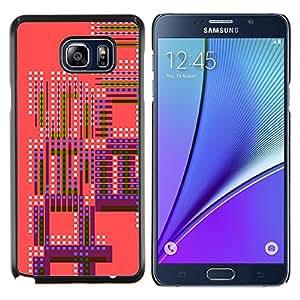 KLONGSHOP // Cubierta de piel con cierre a presión Shell trasero duro de goma Protección Caso - Modelo rosado púrpura retro de manchas blancas - Samsung Galaxy Note 5 5th N9200 //