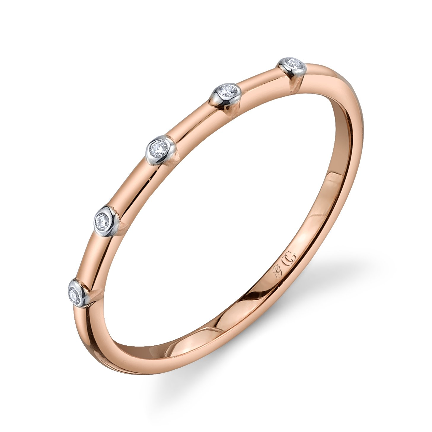 CHARLIZE GADBOIS Sterling Silver Diamond Ring, Rose Gold Plated (0.025 cttw, I1-I2 Clarity), Size 8 by Gadbois Jewelry (Image #1)