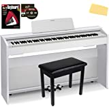 Casio Privia PX-870 Digital Piano - White Bundle with Furniture Bench, Instructional Book, Austin Bazaar Instructional DVD, a