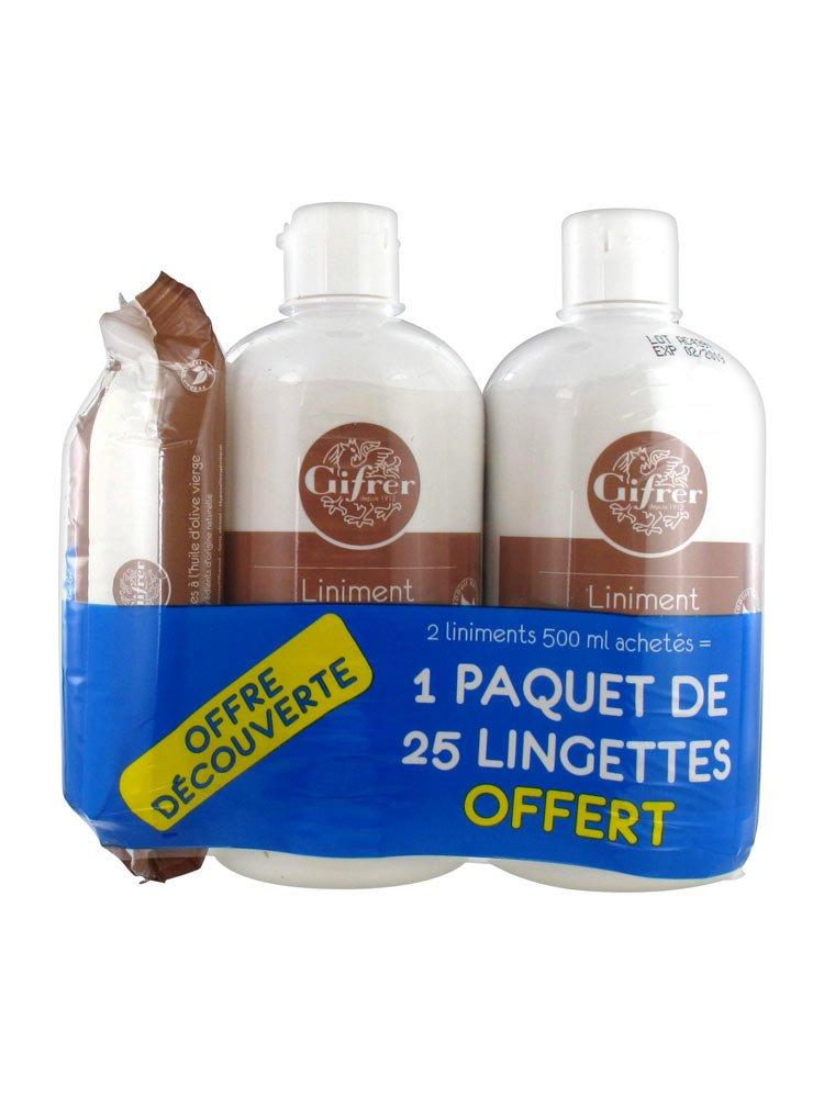 Gifrer Liniment Oléo-calcaire Stabilisé Lot de 2 x 500 ml + Paquet de 25 Lingettes Offert