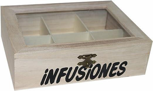Re-Star Caja de Madera para infusiones 6 Compartimentos 6 x 21 x ...