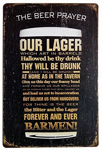 (ERLOOD The Beer Prayer Tin Signs Vintage Retro Wall Retro Metal Bar Pub Poster)