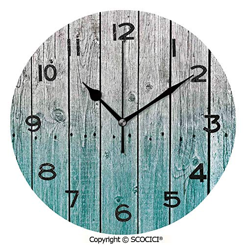 Unframed Insert Panel - SCOCICI 10 Inch Round Face Silent Wall Clock Wood Panels Background with Tones Effect Country House Art Image Unique Contemporary Home and Office Decor