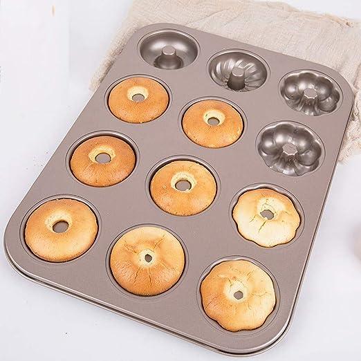 Cakes Mould TAOtTAO 12 Rejillas Molde de Madera de castaño Bandeja para Hacer Pasteles de Donut Bandeja para Hornear Flores: Amazon.es: Hogar