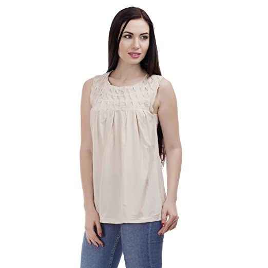 MansiCollections Casual Sleeveless Solid Beige Top for Women Women's Tops