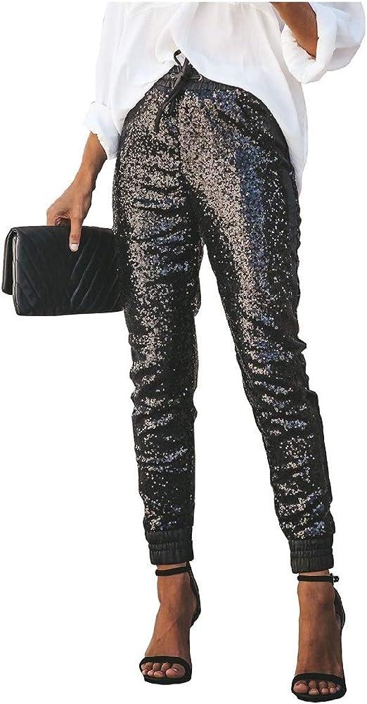 VITryst Women's Sparkly Sexy Elastic PU High Waist Pencil Pants