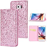Stysen Galaxy S6 Flip Case,Galaxy S6 Glitter Wallet Case,Elegant Noble Stylish Pink Ultrathin Secure Magnetic Closure Shiny Glitter Sparkle Bling PU Leather Bookstyle Soft Silicone Inner Tpu Case with Card Slots Pouch and Stand Function Folio Buckle Wallet Protective Case Cover for Samsung Galaxy S6-Pink