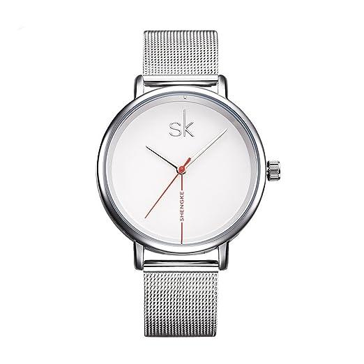 shengke Fashion mujer relojes 2017 Ultra Thin reloj de cuarzo mujer elegante vestido reloj de pulsera para mujer Montre Femme SK k0059l: Amazon.es: Relojes