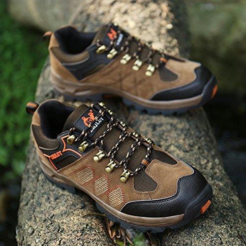 JEDVOO Zapatillas de Senderismo ,Zapatos de Deporte y Aire Libre Para Unisex Caqui Naranja