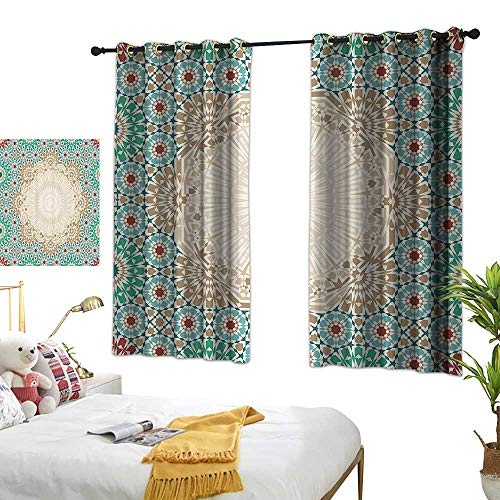 Warm Family Living Room Curtains Moroccan,Ottoman Mosaic Art Pattern with Oriental Floral Forms Antique Scroll Ceramic Boho Print,Multi 72