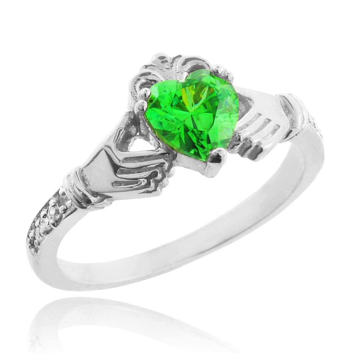 14k White Gold Green Heart CZ May Birthstone Claddagh Ring with Natural Diamonds