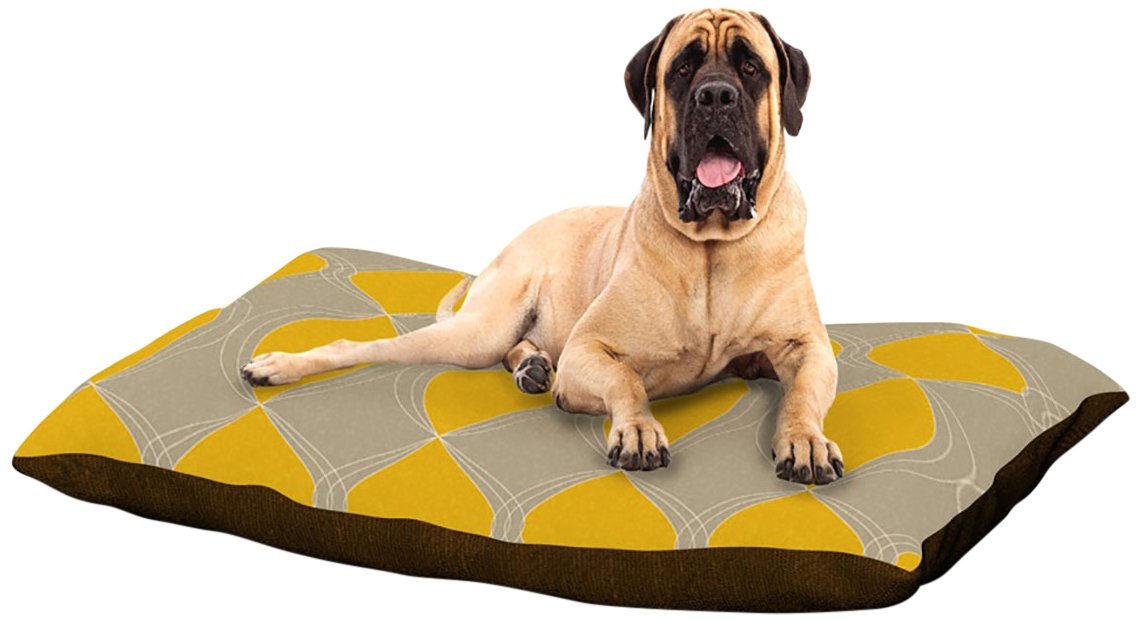 X-Large 40\ Kess InHouse Julia Grifol Geometries in Yellow  Dog Bed, 50 by 60-Inch